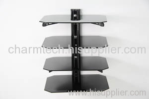 4 Shelf Glass Black Tube DVD Player Bracket