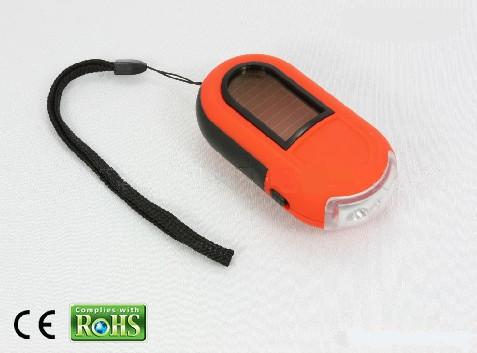 Hand crank solar flashlight