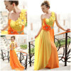 yellow chiffon evening dress