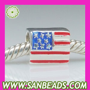 Sterling silver enamel American flag charms beads