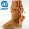Winter lady boot with double-face sheepskin material