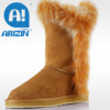 Lady fashion snow boots with fur material