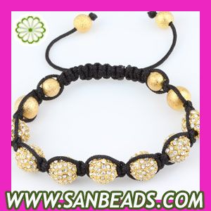 Fashion shamballa bracelets with gold crystal diso ball