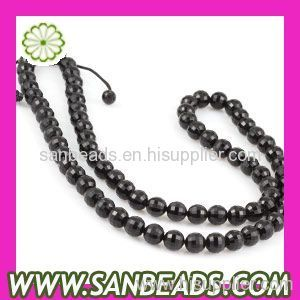 Mystic Faceted Black Beads Shamballa Necklace