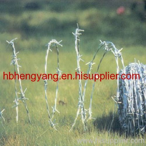Hot dip galvanized barbed wire fence