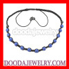 Fashion shamballa bead necklace with blue Czech Crystal and Hematite beads