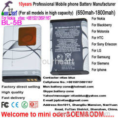 Factory cell phone battery for Nokia BL-5B
