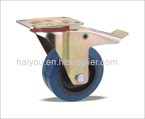 braked swivel caster with elastic rubber wheels(nylon core)