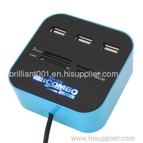 USB Card Reader with 3-Port USB HUB and Special Light Logo,USB Combo,USB Card Reader combo