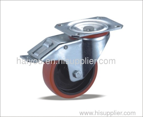 braked swivel caster with tpu wheels(nylon core)SC125X38+pc125x38