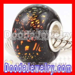 Dichroic Foil Glass Beads european Compatible 925 Silver Single Core