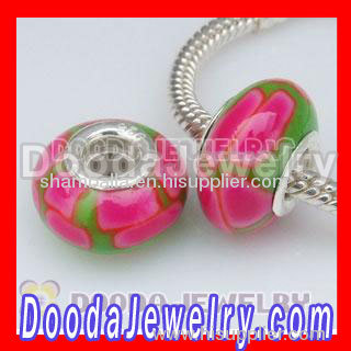 925 Sterling Silver Double Cores Charm Jewelry Polymer Clay Fimo Beads