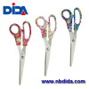 Stainless steel scissors tools with floral print pp handle