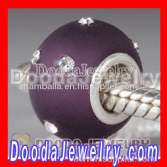Fashion Kerastyle Silver Frosted Glass Purple Bead with Austrian Crystal Accents