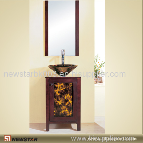 Wooden Cabinet With Tempered Glass Vessels
