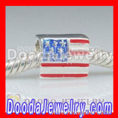 925 Sterling Silver Charm Jewelry Beads Enamel American Flag