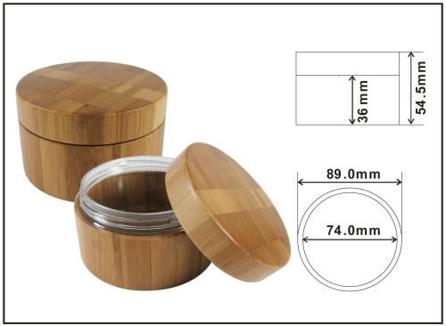 cream jar natural bamboo package 200ml bamboo jar cosmetic package outer bamboo with inner PET jar