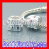 2011 european Style Solid Silver Beads With Pink Zircon Stone Wholesale