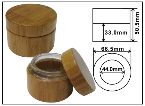 natural package bamboo cream jar 50ml Bamboo jar outer bamboo with glass inner jar