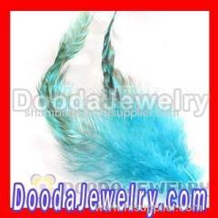 Natural Striped Green Strung Rooster Feather Hair Extension Wholesale
