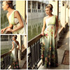 Doris hot sale printed flowers elegant full length evening dresses