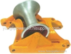 Cast aluminum supported cable ground roller pulley block