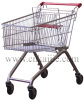 Zinc plated supermarket shopping cart 100L