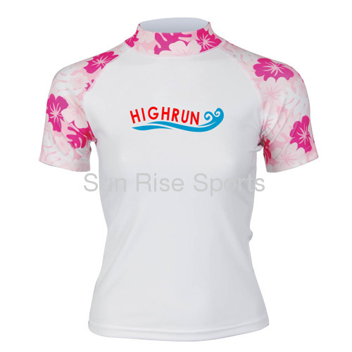 short sleeve Women's Rash Guard with printed flower