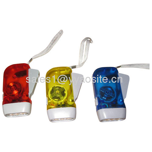 2led hand squeeze torch KT-D023 hand manual dynamo flashlights