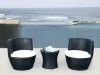 PE rattan patio sofa and table