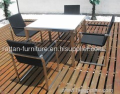 rattan outdoor furniture stainless steel dining set with 4 chairs