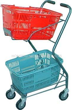 2 hand basket holder shopping cart