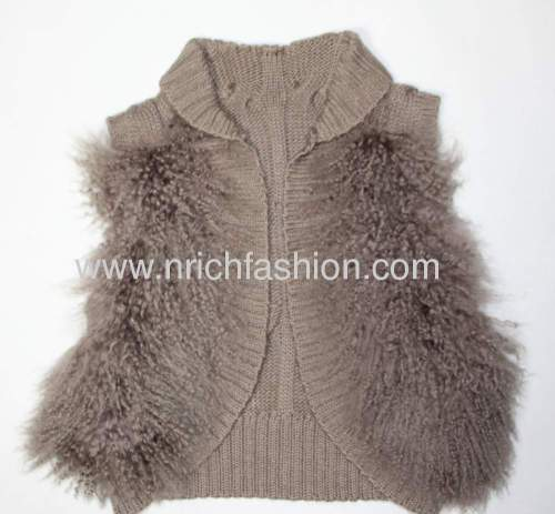 Real mongolian fur with knit