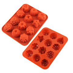 12 Cavities Silicone Cake Pan Baking Mould Silicone Chocolate & Cookie Mould