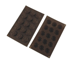 15 Cavities Silicone Chocolate & Cookie Mold -- Rose