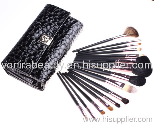 Deluxe 15pcs black makeup brush set with black snake pouch red hand travel size makeup cosmetic brush set
