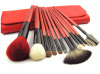 12pcs professional makeup brush set with red case and handle