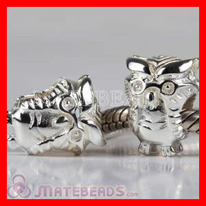 Wholesale European chamilia silver Owl bead Charms Fit European Jewelry bracelet