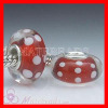 European Murano Red Glass Bead with White Polka Dot Design
