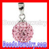 Sterling Silver 10mm Pink Czech Crystal Pendants Wholesale