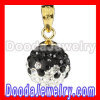 Gold Plated Silver 10mm Black-White Swarovski Crystal Pendants Wholesale