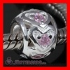 european Style Love Beads with Pink CZ Stone For Valentine's Day