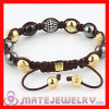 Hematite Onyx Gold Plated Sterling Silver Beads with Stone Shamballa Inspired Bracelet