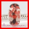 european Red tree glass beads in silver single core