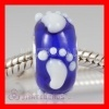 european Blue Lampwork Glass Baby Footprint Beads fit Lovecharmlinks Jewelry