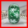 Green Snowflake Glass Beads With Sterling Silver Core