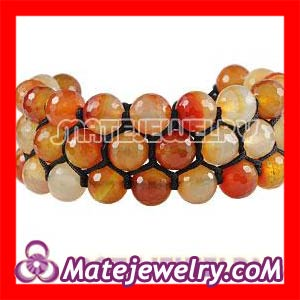 Shamballa Men' 3 Row Orange Faceted Agate Wrap Bracelet With Hematite