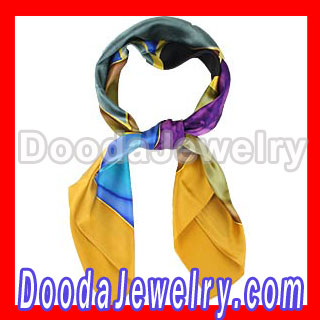 wholesale Large Silk Scarf Hand Painted Square Silk Scarves for Women