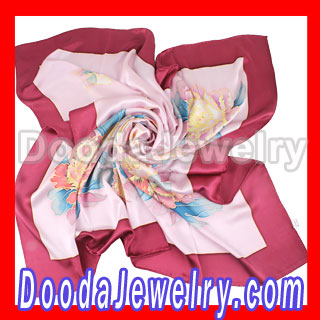 wholesale dkny Silk Scarf Fine Hand Painted Large Square Silk Scarves for Women