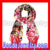 Printed Floral Long Oblong Fringed Silk Scarves cashmere Silk Scarf Wholesale